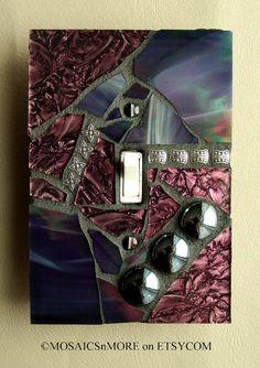 Purple Iridescent - OVERSIZED - SINGLE Mosaic Light Switch Cover Wall Plate