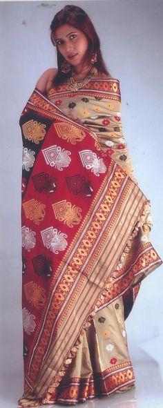 Paat & Muga mix silk assamese saree