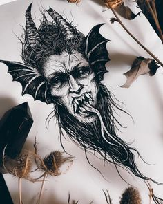 Search inspiration for a Blackwork tattoo. Satanic Tattoos, Satanic Art, Tattoo Sketches, Tattoo Drawings, Body Art Tattoos, Dark Art Tattoo, Demon Tattoo, Samurai Tattoo, Scary Drawings