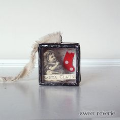 Holiday Christmas Ornament Shadow Box - I Believe in Santa Claus - Old Fashioned Victorian Altered Art Soldered Box, via Etsy.