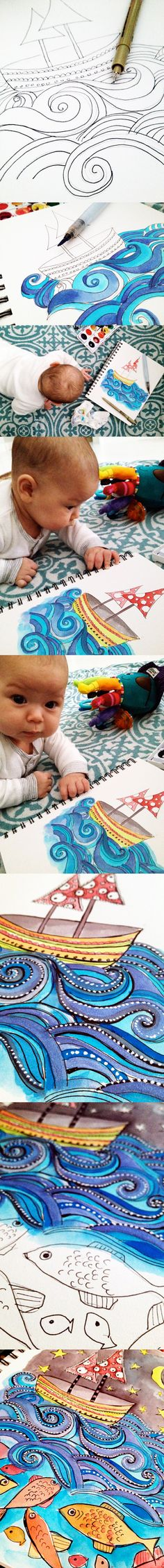 Think About Drawing A 7 Layer Story Waves Art Doodle Drawings, Doodle Art, Draw Tutorial, Middle School Art, Art Lessons Elementary, Illustrations, Drawing Lessons, Art Classroom, Arts Ed