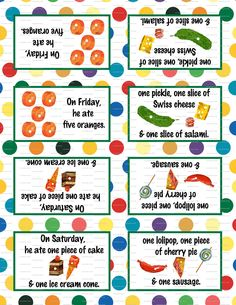 Very Hungry Caterpillar Birthday Party 3.5x5 Tent Labels for Food Tables, Candy Buffet Folding You Print. $4.50, via Etsy.