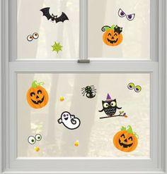 Window Cling Decorations pumpkin grin halloween window clings sheet | products | pinterest