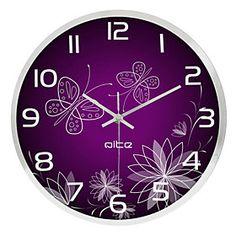 Purple Butterfly Stainless Steel Wall Clock
