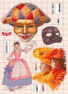 0 point de croix femme et colombe et carnaval - cross stitch woman with a dove and carnival