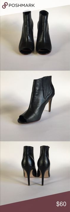 LIKE NEW** Halogen peep toe boots: Size 10 These lovely peep toe leather boots from the Nordstrom private label Halogen. They fit true to size, and are EXTREMELY comfortable. I paired these with jeans or even a A-line skirt. Halogen Shoes Ankle Boots & Booties