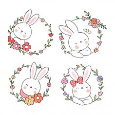Draw cute rabbit with flower wreath.- Dibuja lindo conejo con guirnalda de flore… Draw cute rabbit with flower wreath. Draw cute rabbit with flower wreath. Easter Drawings, Doodle Drawings, Cute Drawings, Doodle Art, Girl Drawings, Drawing Faces, Bunch Of Flowers Drawing, Scrapbooking Image, Embroidery Patterns