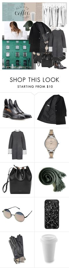 """""""TIME"""" by mariettamyan ❤ liked on Polyvore featuring Francesco Russo, CÉLINE, FOSSIL, Mansur Gavriel, Quay, Casetify and Barbour"""
