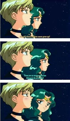 Sailor Neptune and Sailor Uranus always seem to find time to flirt, even with a battle looming. Sailor Neptune, Sailor Saturn, Sailor Venus, Sailor Mars, Sailor Moon Quotes, Sailor Moon Funny, Sailor Moon Aesthetic, Sailor Moon Crystal, Sailor Scouts