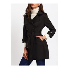 SheIn(sheinside) Black Double Breasted Lapel Coat With Belt ($47) ❤ liked on Polyvore featuring outerwear, coats, black, long peacoat, belt coat, double breasted coat, double-breasted pea coat and long coat with belt