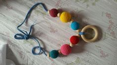 Colier alaptare Teething wooden necklace - handmade