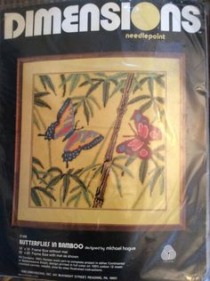 Butterfly In Bamboo Dimensions Needlepoint Kit Vtg 2168 Michael Hague 16 X 16 #Dimensions