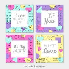 メッセージメンフィススタイルのバレンタインカード Premiumベクター