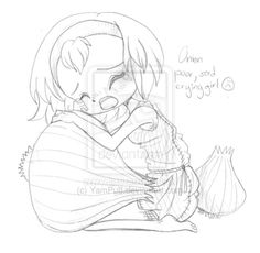Sad Little Onion Girl Commission - Sketch by YamPuff on DeviantArt Easy Christmas Crafts, Simple Christmas, Colouring Pages, Cute Drawings, Chibi, Sad, Deviantart, Fantasy, Onion