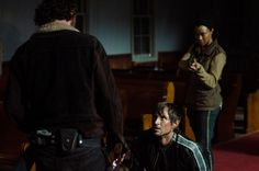 """See 'The Walking Dead' Season 5 Photos """"Four Walls and a Roof"""" Episode 503 Andrew Lincoln as Rick Grimes, Andrew J. West as Gareth, and Sonequa Martin-Green as Sasha"""