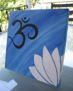 ON SALE Om and Lotus Canvas Painting by FlowYogaDesigns on Etsy