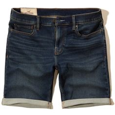 Hollister Classic Fit Denim Shorts (765 MXN) ❤ liked on Polyvore featuring men's fashion, men's clothing, men's shorts, dark wash, mens denim shorts, mens jean shorts and mens lightweight cargo shorts