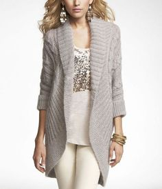 Cable knit cocoon sweater jacket.
