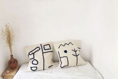 Minimalist cushions, minimalist bedroom, textiles, handmade pillows, blue w Girls Bedroom, Bedroom Decor, Master Bedroom, Bedroom Minimalist, Minimalist Cushions, Industrial Design Furniture, Reclaimed Furniture, Industrial Lamps, Pipe Furniture