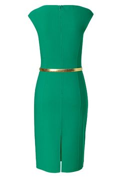 Michael Kors- Emerald Belted Wool-Blend Sheath Dress. xoxo, k2obykarenko.com #Emerald #ColoroftheYear
