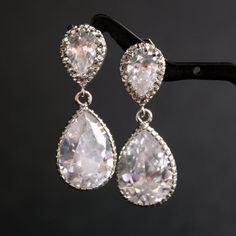 They have lots of cute jewlery for a good price! Wedding Earrings Bridal Earrings with Clear Cubic by poetryjewelry, $38.00