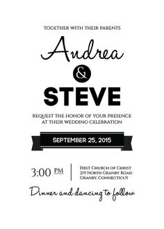 Modern Text-based Wedding Invitation -- with free fonts For customizations: printableinvitationkits[at]gmail[dot]com