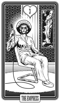 III. The Empress - Alas Vegas Tarot by John Coulthart *** The style is more 70s than 60s: patterned wallpaper (the hearts symbolism of The Empress), white rug, Kung Fu pyjamas.