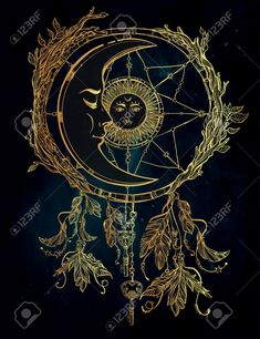 Hand Drawn Romantic Beautiful Drawing Of A Dream Catcher Adorned.. Royalty Free Cliparts, Vectors, And Stock Illustration. Image 46861131.