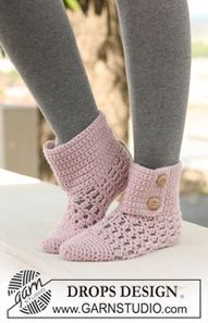 """Crochet DROPS slippers in """"Nepal"""". ~ DROPS Design -- These are the pair I'm making for Julia for Christmas, hopefully! Crochet Slipper Boots, Crochet Slipper Pattern, Knitted Slippers, Crochet Patterns, Slipper Socks, Knitting Patterns, Easy Crochet Projects, Crochet Crafts, Yarn Projects"""