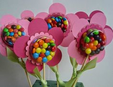 Spring Blossom Musings: Sweet Treat Cups Wrap candy in saran wrap and put pic of child under candy for Mother's Day. Kids Crafts, Easter Crafts, Diy And Crafts, Foam Crafts, Troll Party, Candy Crafts, Valentines Day Treats, Kids Valentines, Holiday Treats
