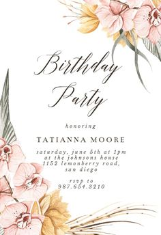 Dusty Pink Orchids - Birthday Invitation #invitations #printable #diy #template #birthday #party