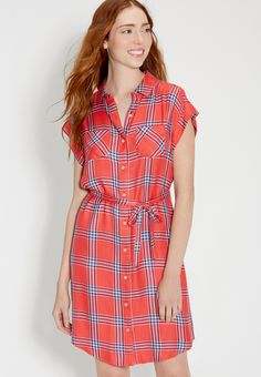 7962f1be85 button down plaid shirtdress with short sleeves (original price