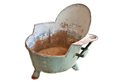 French Degas-Style Bathtub Very unique, antique French Degas-style metal bathtub in stunning greyish, blue-green with handles, armrests, and built in funnel for comfortable filling. A great statement piece http://www.charlieford.com