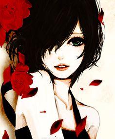 black-haired anime girl