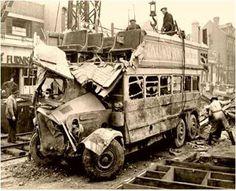 Bombed bus - London, 1940