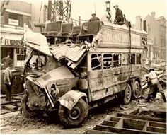 Bombed bus - London, 1940