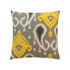 on my black leather sofa in my living room in BA, with dwell rug in gray and yellow....  BATAVIA CITRINE PILLOW,$72.00