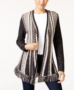 Style & Co Fringe-Trim Cardigan, Created for Macy's - Tan/Beige XXL