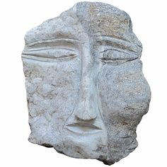 Banded Granite Head by Ted Ludwiczak | From a unique collection of antique and modern outsider and self taught art at http://www.1stdibs.com/furniture/folk-art/outsider-self-taught-art/