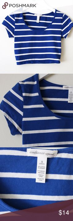 Blue and white striped crop top Blue and white striped crop top from Ambiance Apparel. Size small. Pairs perfectly with high wasted shorts. Ambiance Apparel Tops Crop Tops