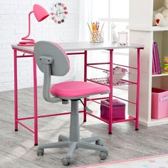 Study Zone II Desk & Chair - Pink Dimensions: x x in. 2 side shelves measuring x in. Laminated wood desk with pink metal frame Ergonomic chair design for superior lumbar support Chair adjusts in height from 18 to 21 in.