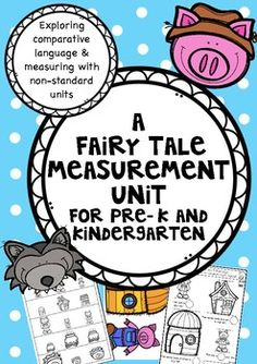 """In this little freebie you will find an activity and accompanying math worksheets for exploring comparative language and measuring with non-standard units.  For Pre -K and KindergartenIt is a quick little unit I created to introduce and use Fairy Tales ie. """"Goldilocks and the Three Bears"""" and """"The Three Little Pigs"""" to explore measurement for Pre - K and Kindergarten."""