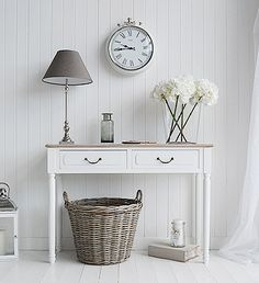Vintage French Soul ~ The Suffolk console table with 2 drawers. Decorate your hall in white. White hallway furniture fro Nordic, country, Beach and New England style homes White Hallway Furniture, Hall Furniture, Shabby Chic Furniture, Living Room Furniture, Furniture Ideas, Cottage Furniture, Hallway Sideboard, England Furniture, Hallway Bench