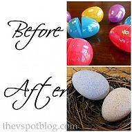 DIY::Recycle boring plastic eggs and make faux robin eggs for your spring or Easter decor... The V Spot Blog