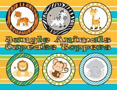 Jungle Animals Cupcake Toppers INSTANT by ATimeToRememberDPK