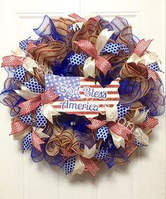 Patriotic Deco Mesh Wreath  July Fourth by BrendasCreativeCakes