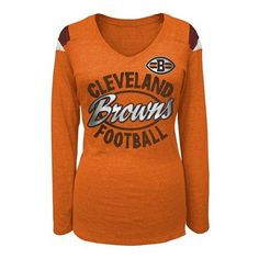 Cleveland #Browns Women's Long Sleeve Tri-blend V-neck Tee. Click to order! - $34.99