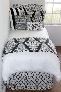 Trendy Black & White Damask Designer Bed In A Bag Set