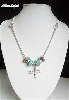 Collier maille serpent argent 925 avec perles Murano et pendentif Libellule : Collier par alice-ayres