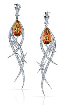 Stephen Webster. Couture Earrings with Zultanite in 18ct White Gold set with pave White Diamonds and pear shaped Zultanite stones.